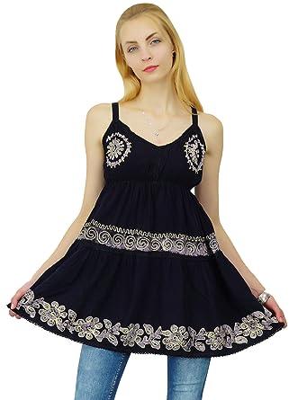 86237458a8dc SEASHORE Batik Printed Viscose Rayon Summer Dress Women Beach Top Casual  Tunic Sundress  Amazon.co.uk  Clothing
