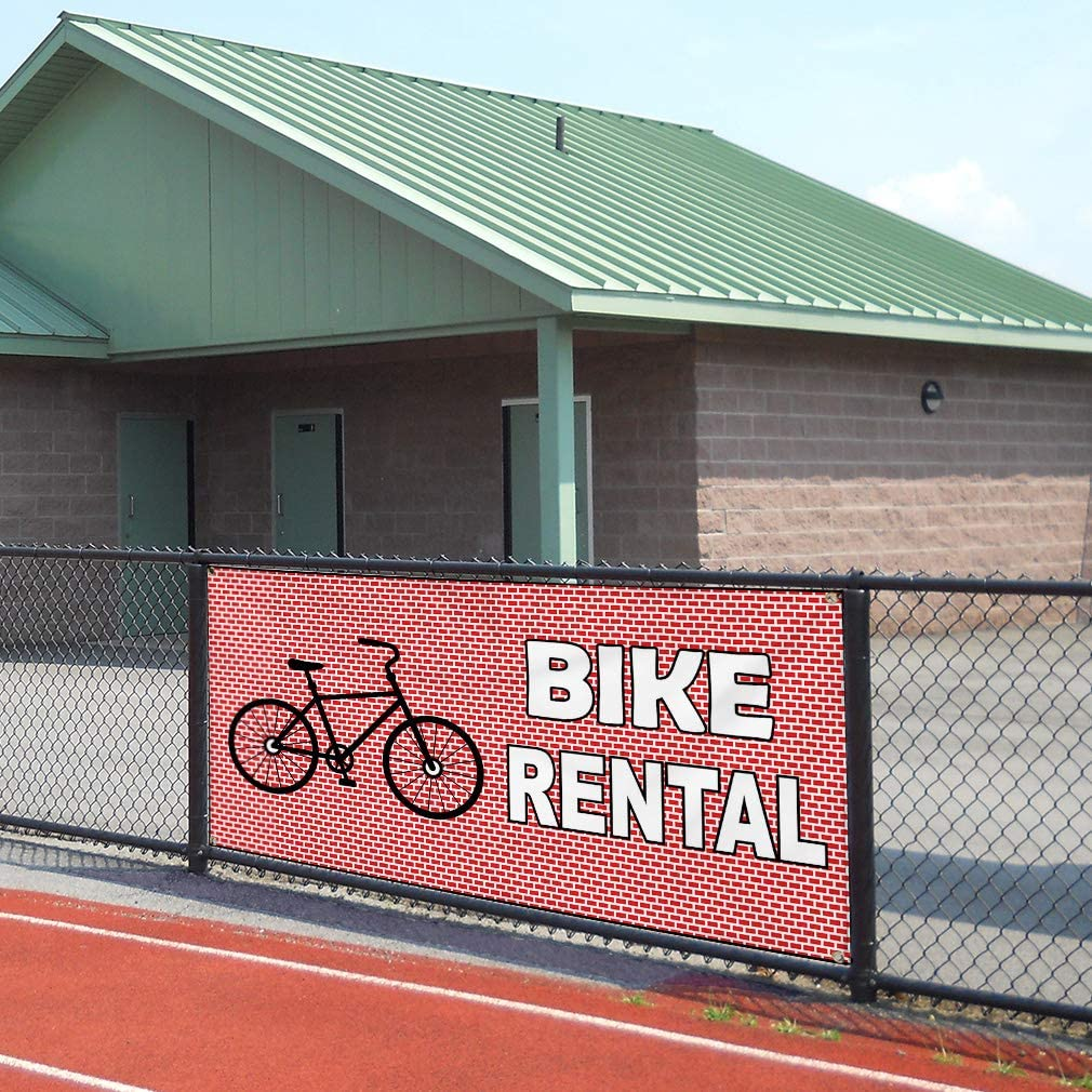 Set of 2 Vinyl Banner Sign Bike Rental Red White Black Business Outdoor Marketing Advertising Red Multiple Sizes Available 32inx80in 6 Grommets
