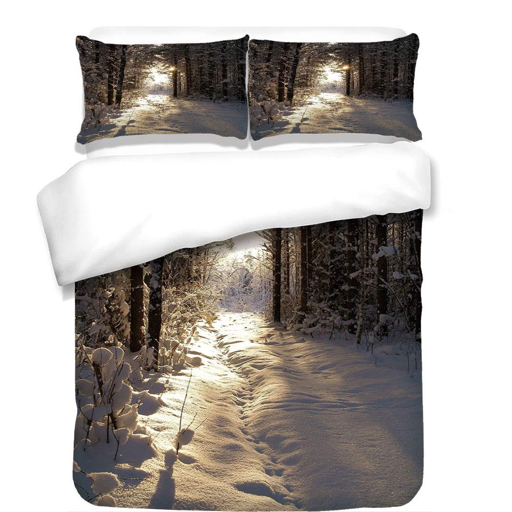 iPrint 3Pcs Duvet Cover Set,Winter,Christmas Season with Snow and Frozen Forest Sun Rays Very Cold Woods Scenery Image,Best Bedding Gifts for Family/Friends