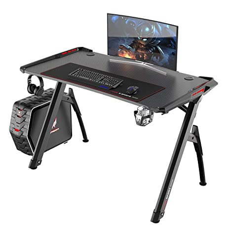 reputable site f5d28 20b0e Soges 47 inches Gaming Desk Computer Desk Computer Gamer Pro Tables with  LED Lights Ergonomic PC Desk with XL Mouse Pad and Cup Holder, Black, ST-R3