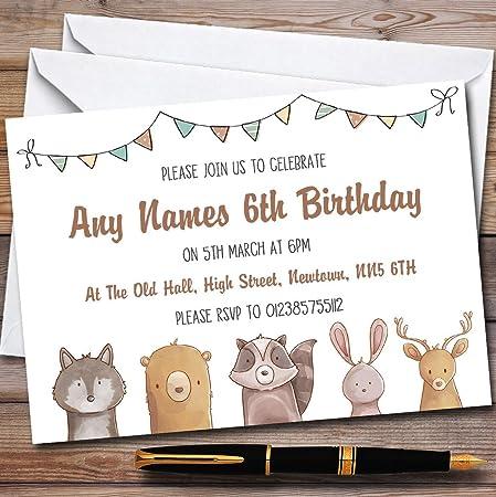 forest woodland animals childrens birthday party invitations amazon