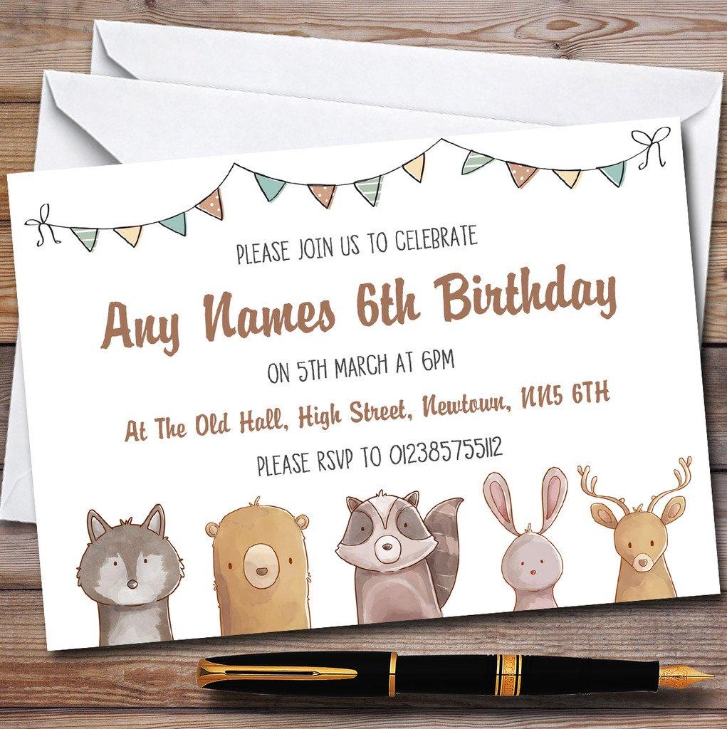 Forest Woodland Animals Childrens Birthday Party Invitations