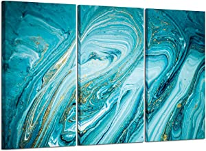 Kreative Arts 3 Pieces Blue Abstract Canvas Wall Art Large Teal Painting Modern Turquoise Prints Artwork for Living Room Bedroom Home Decoration Ready to Hang 16x32inchx3pcs