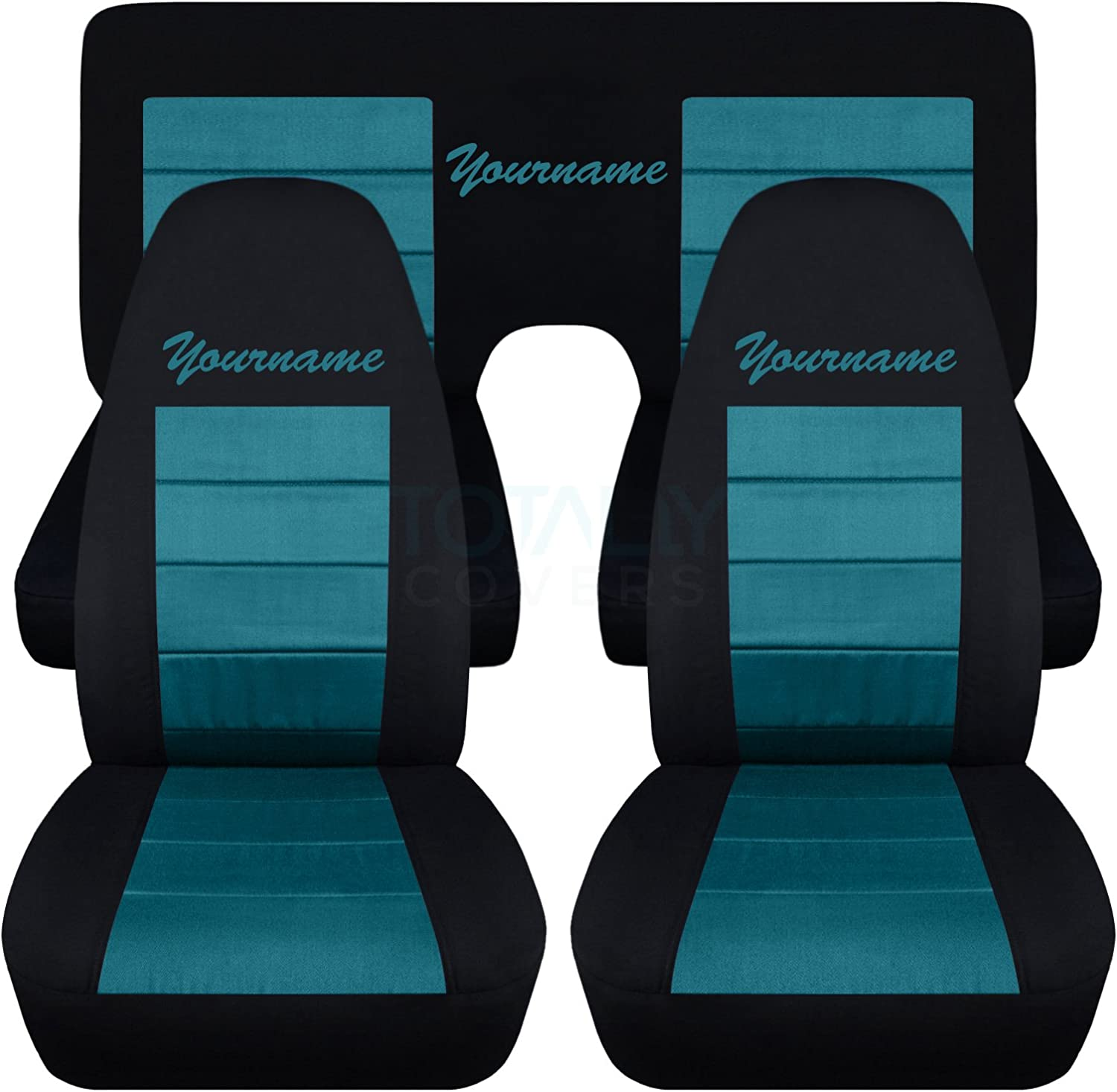 Coupe 2nd Generation Chevrolet Totally Covers Compatible with 1970-1981 Chevy Camaro 2-Tone Seat Covers with Your Name//Text: Black /& Blue 22 Colors Full Set