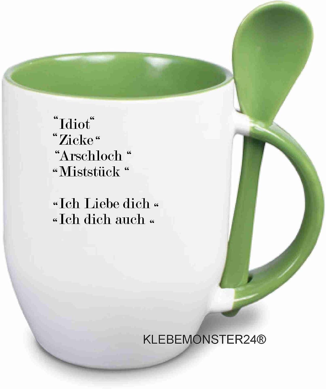 Klebemonster24 Tasse mit Spruch: Idiot Arschlosch Miststück