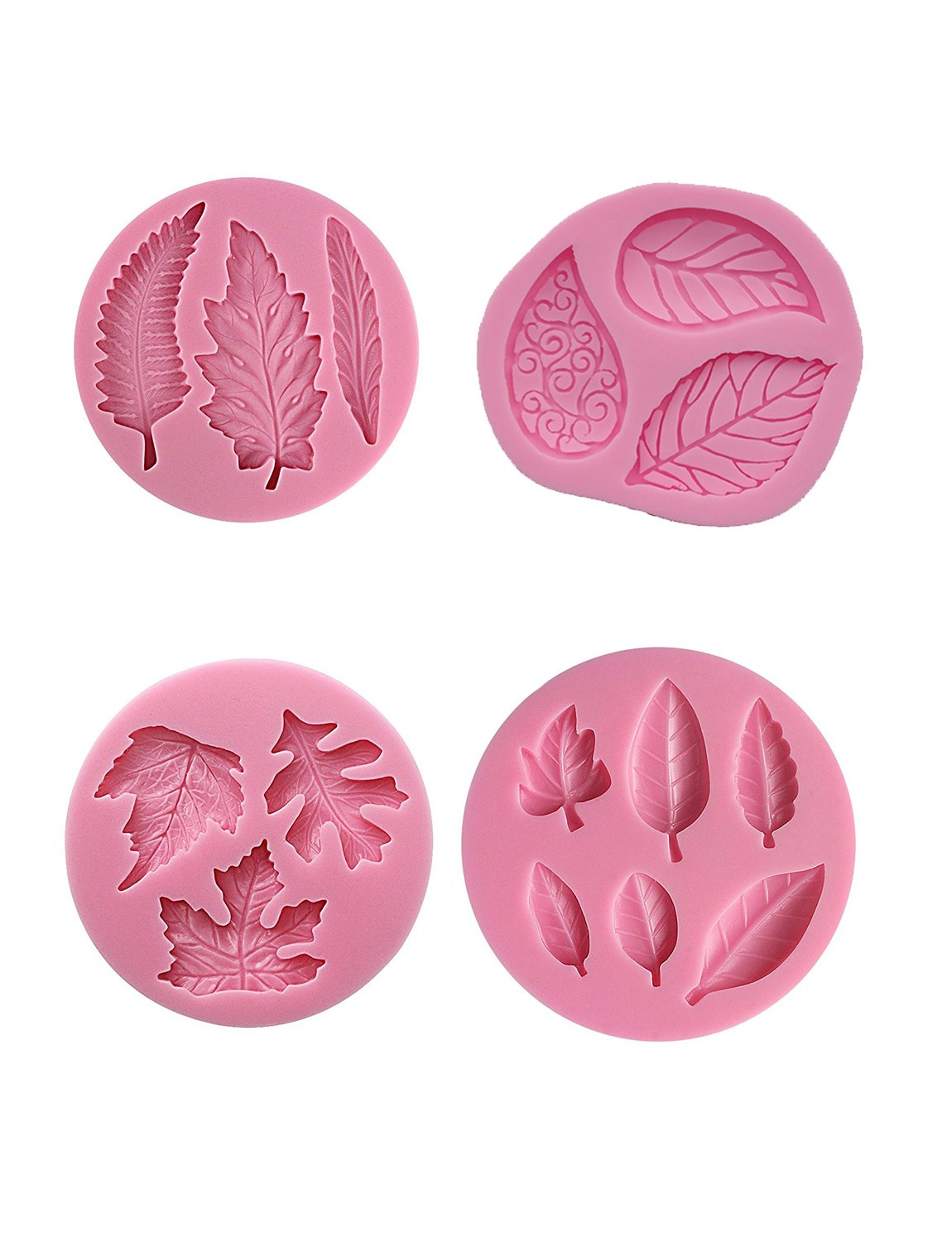 Sharlity 4Pcs Assorted Leaf Silicone Candy Mold for Sugarcraft Chocolate Fondant Resin Polymer Clay