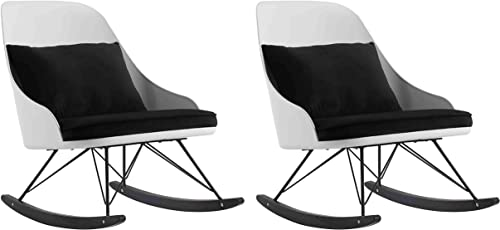 2xhome Set of 2 White Modern Large High Back Rocking Chair