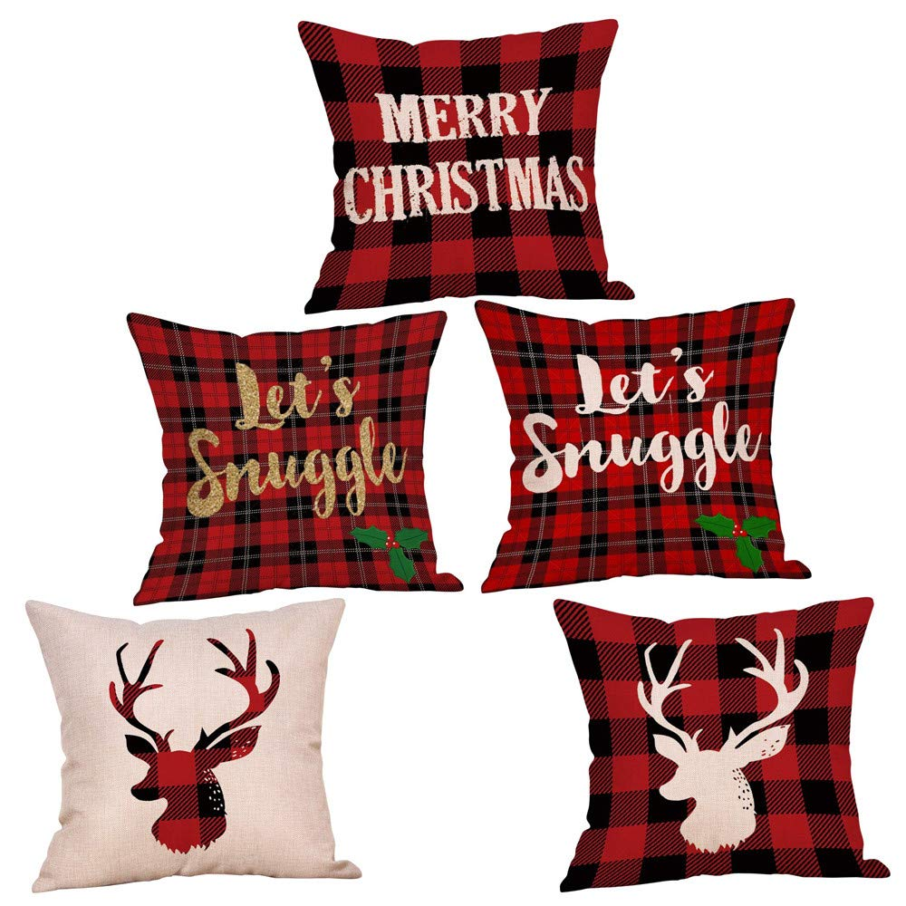 Clearance! Christmas Pillowcases, Christmas Deer Linen Cushion Cover Pillow Case Sofa Bed Home Decoration Festival Pillow Case Cushion Cover (5 pcs)