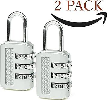 Pack 2 Candado - Cerradura de combinación de 3 dígitos para gimnasio, lockers deportes, escuela y armario de empleados, para exteriores, cerca: Amazon.es: Bricolaje y herramientas