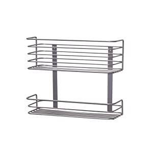 Household Essentials 1228-1 Double Basket Door Mount Cabinet Organizer | Mounts to Solid Cabinet Doors or Wall