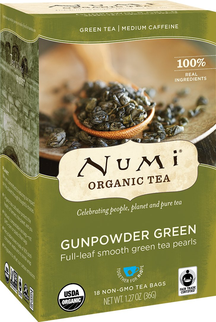 Numi Organic Tea Gunpowder Green, 18 Bags, Box of Traditional Green Tea in Non-GMO Biodegradable Tea Bags, Premium Organic Green Tea