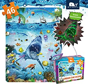Kids Puzzle for Kids Ages 4-8 Ocean Floor Puzzle/Underwater Shark Pattern Design Puzzle/Raising Children Recognition Promotes Hand Eye Coordinatio (Glow in The Dark,46Pcs,24x18in)