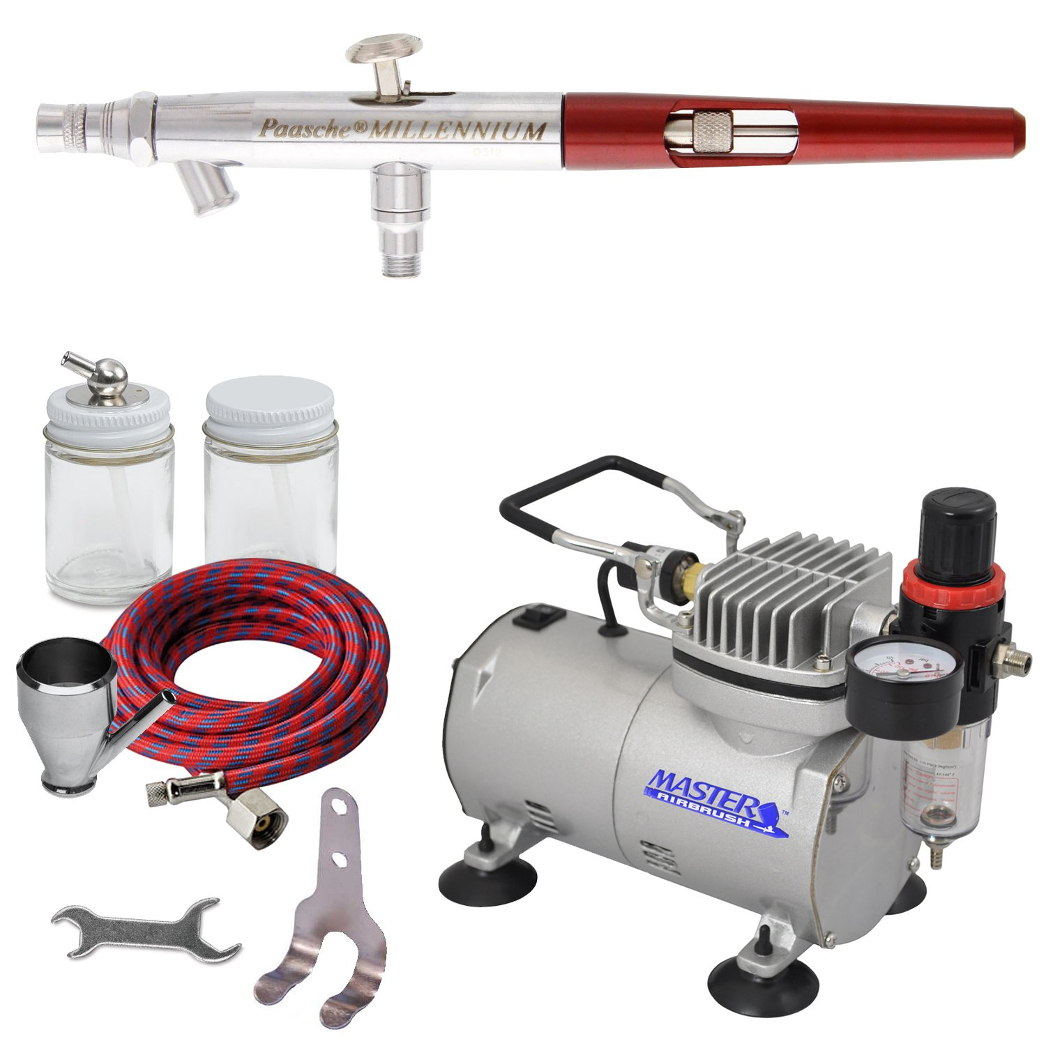 PAASCHE MILLENNIUM AIRBRUSH SET w/Quiet AIR COMPRESSOR