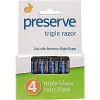 Preserve Triple Razor Replacement Cartridges for Preserve Triple Razor, 4 Count