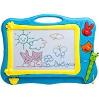 iKidsislands IKS77B Color Magnetic Drawing Board for Kids & Toddlers with 1 Pen & 2 Stamps (Blue)