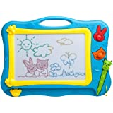 iKidsislands [Mini - Travel Size] Erasable Imaginarium Color Magnetic Drawing Board (Magna Doodle) for Kids/ Toddlers/ Babies with 2 Stamps and 1 Pen (Blue / Yellow)