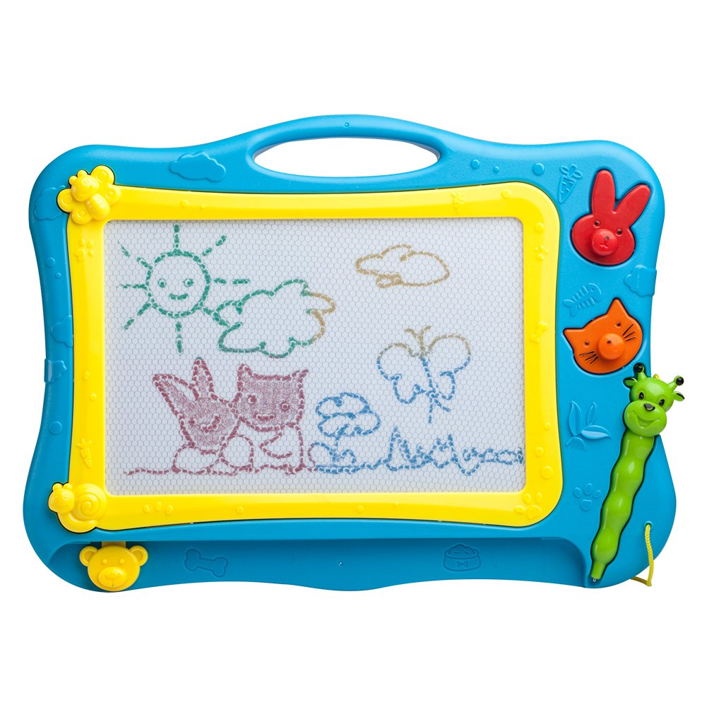 ikidsislands IKS77B [Travel Size] Color Magnetic Drawing Board Kids & Toddlers - Non Toxic Mini Magna Sketch Doodle Educational Toy Boys 1 Pen & 2 Stamps (Blue)