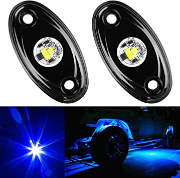 YONEDA LED Rock Lights 4PODS Waterproof LED Neon Underglow Light for Car Truck ATV UTV SUV Jeep Offroad Boat Underbody Glow Trail Rig Lamp Red