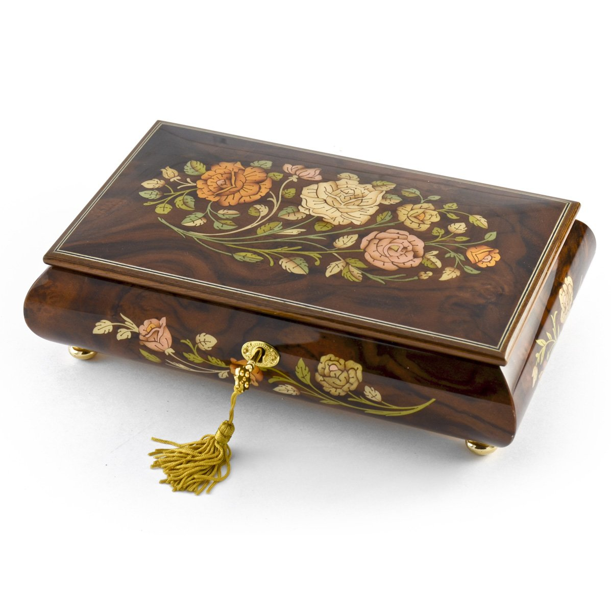 Handcrafted Walnut 18 Note Roses Inlay Musical Jewelry Box with Lock and Key - Love Story (Love Story the Movie)
