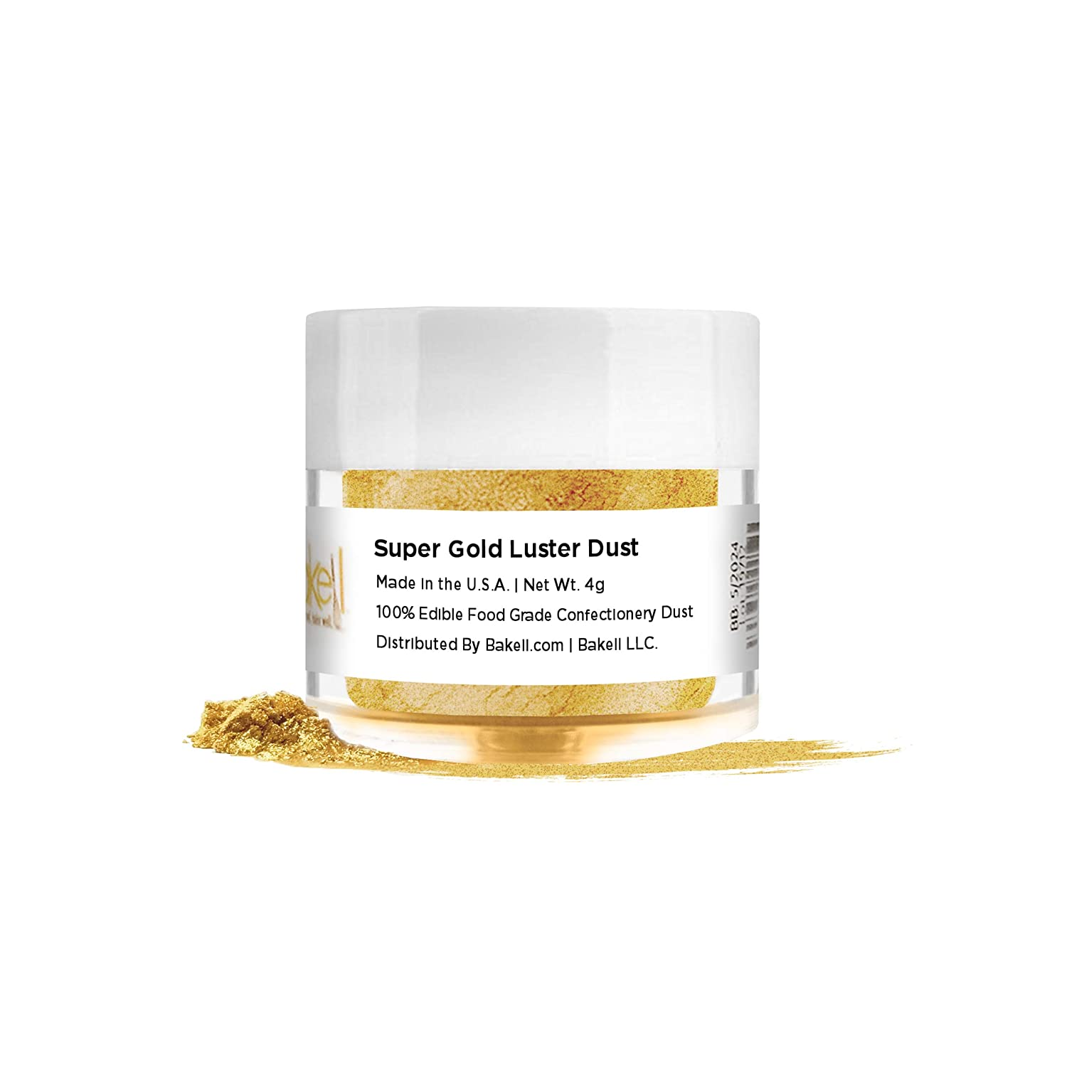 BAKELL Super Intense Gold Edible Luster Dust & Paint, 4 Gram | LUSTER DUST Edible Powder | KOSHER Certified Paint, Powder & Dust | 100% Edible & Food Grade| Cakes, Vegan Paint & Dust (Super Gold)