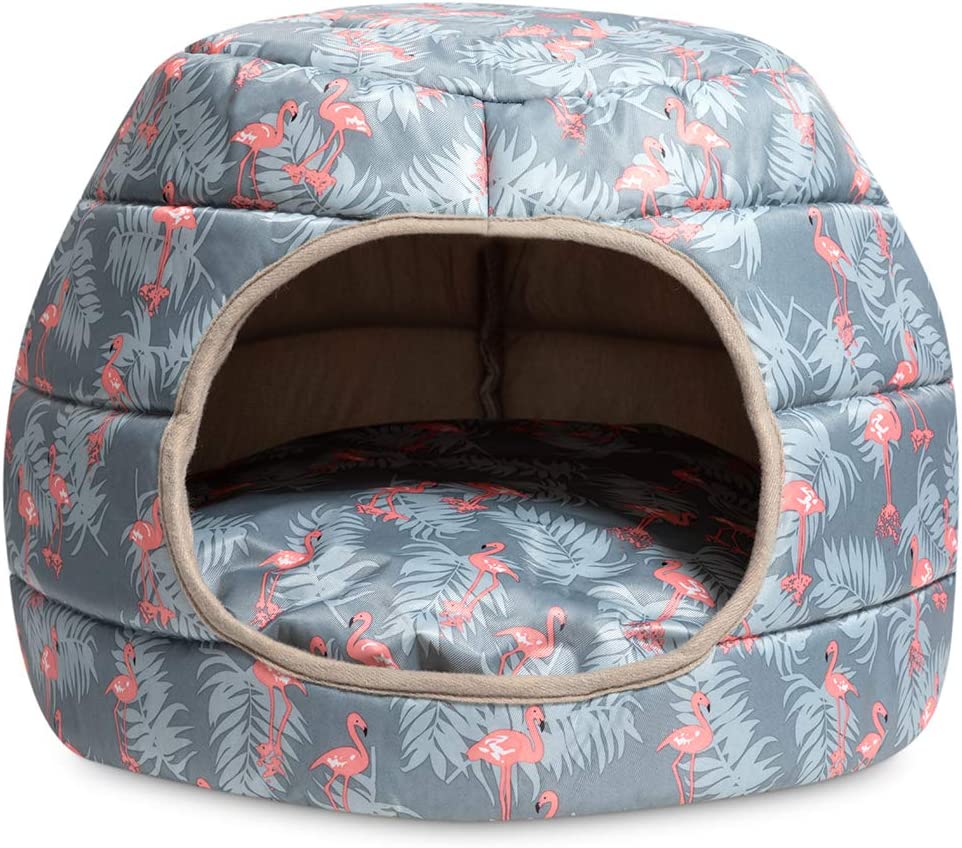 Hollypet Cooling Pet Bed for Cat and Small Dog Puppy 2 in 1 Foldable Comfortable Nest Cave Sofa House for Summer, Gray
