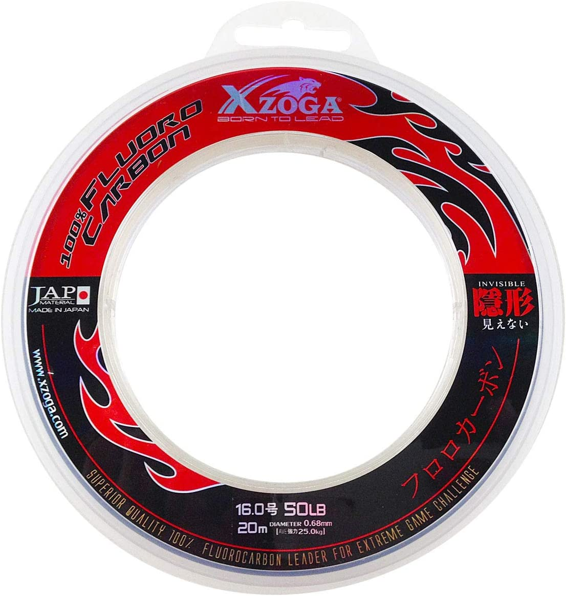 Xzoga 50lb//20m 100/% Fluorocarbon Invisible Fishing Leader Line