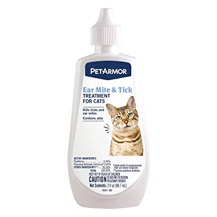 Petarmor Ear Mite And Tick Treatment For Cats 3 Oz Amazon In Pet Supplies