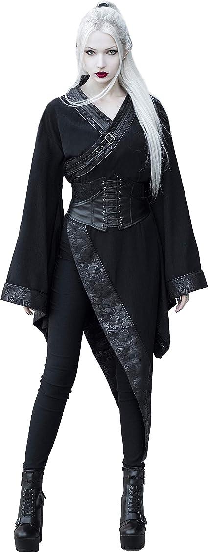 Women Gothic Punk Hooded Dress Fashion Long Sleeve Pleated Mini Dresses
