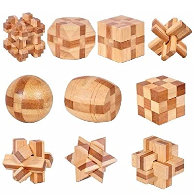 10 pcs/set 3D handmade vintage KongMing lock Luban lock bamboo toys adults puzzle children adult Birthday /Christmas gift