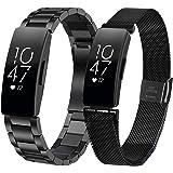 KOREDA Compatible with Fitbit Inspire/Inspire 2/Inspire HR Bands Sets Women Men, Stainless Steel Metal Band + Mesh Loop…