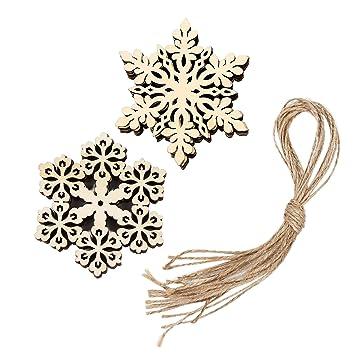 Sumind 20 Stück Holz Schneeflocken Dekorationen Weihnachtsschmuck ...