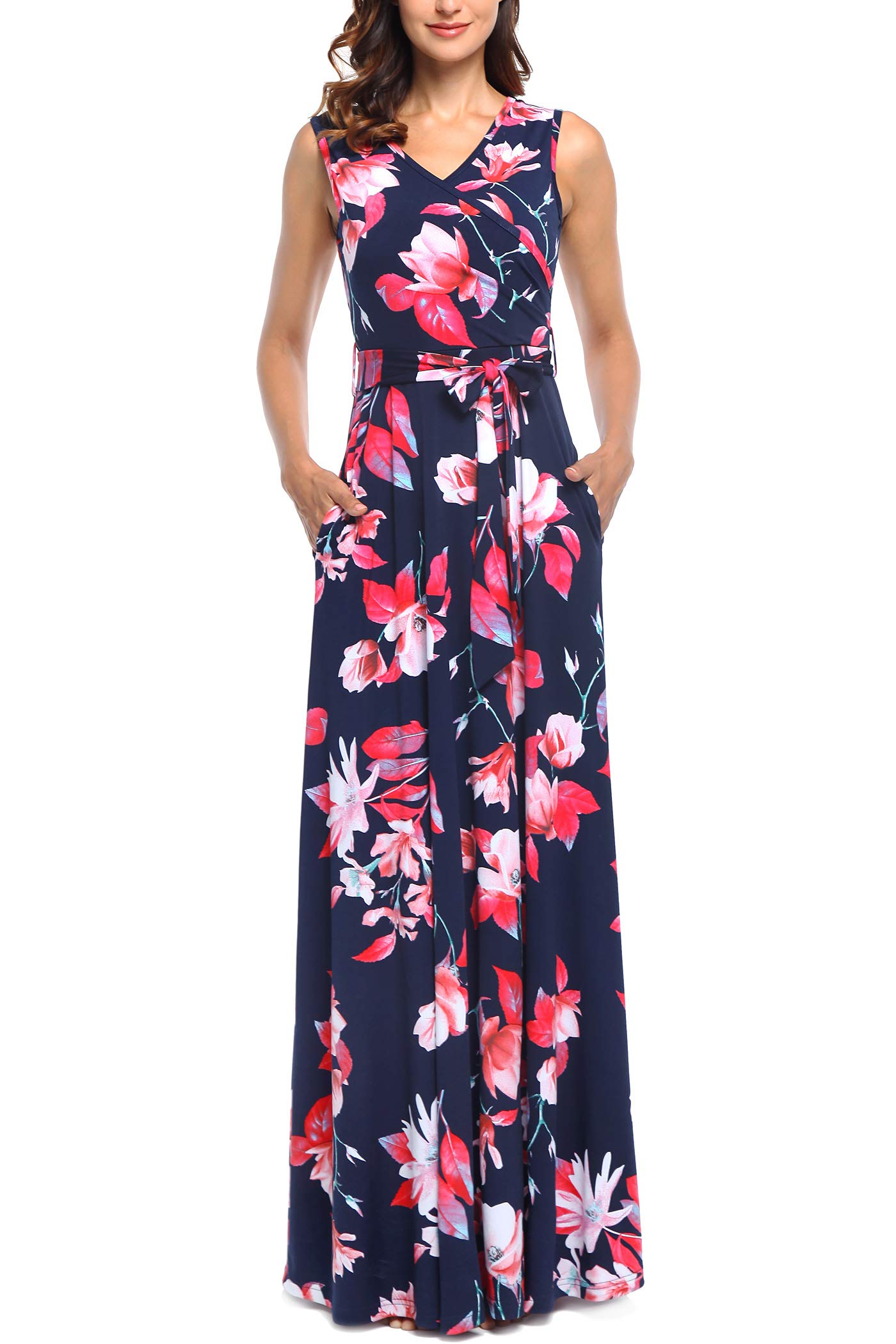 Comila Womens Summer V Neck Floral Maxi Dress Casual Long Dresses with Pockets