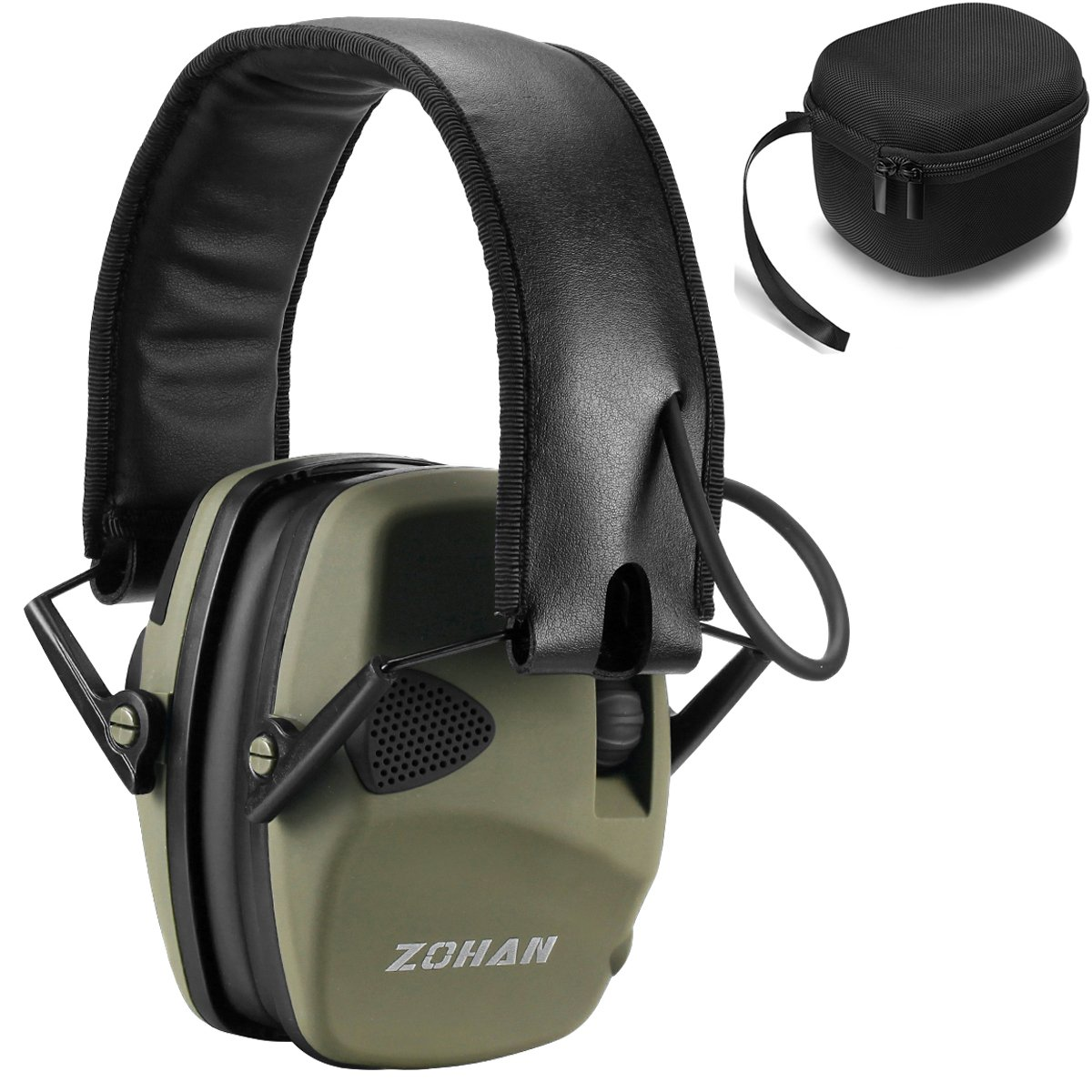 ZOHAN Sound Amplification Electronic Shooting Earmuff With a Hard Carrying Case, Ultra Low-Profile Noise Reduction Ear Defender for Hunting, NRR 22dB Professional Hearing Protector (Army Green)