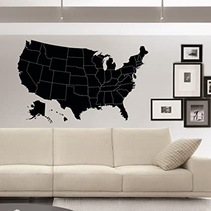 US Map Wall Decals Geographic Vinyl Stickers- United States Map Wall ...