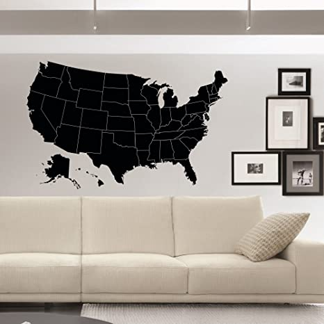 United States Map Wall Decor.Us Map Wall Decals Geographic Vinyl Stickers United States Map Wall