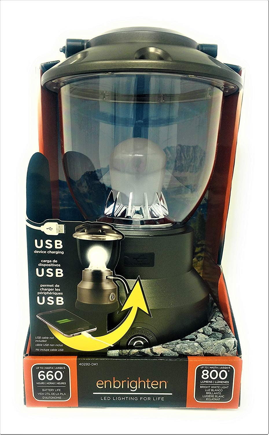 Enbrighten Lantern USB Charger 600 hrs Battery Life 800 Lumens Camping or Emergency Light