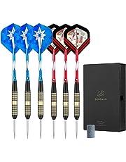 Centaur 6 Pack Steel Tip Darts 22 Grams with Aluminum Shaft 2 Style Flights and Dart Case, Professional Metal Darts Set