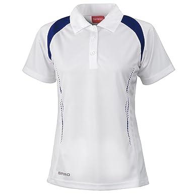 Para mujer SPIRO Deportes Espíritu de equipo Fitness Polo Blanco ...