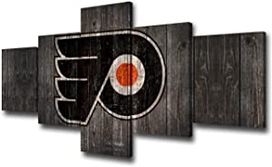 Philadelphia Flyers Team Logo Picture for Living Room National Hockey League Wall Art Sports Poster and Prints Contemporary Artwork 5 Piece Canvas Decor Painting Framed Ready to Hang(50Wx24H inches)