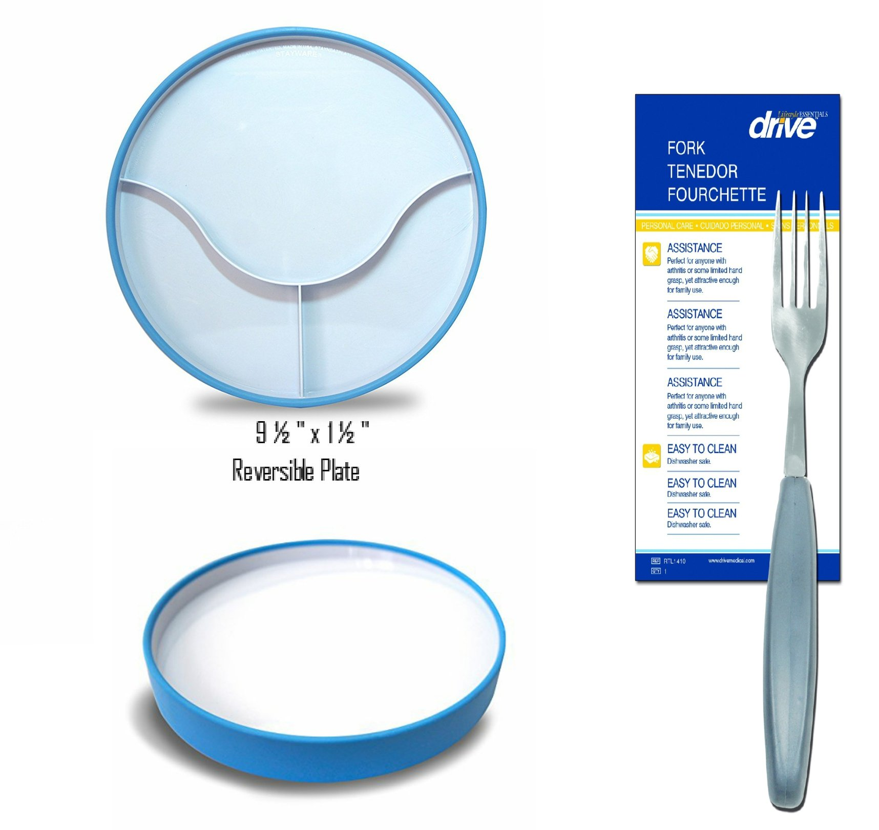 """Stay N Eat Reversible 9'' Non Slip Plate with Ergonomic Fork 8 ¾"""" Long with 1"""" Thick Handle for Easy Grip by Robert Marketing, Inc."""
