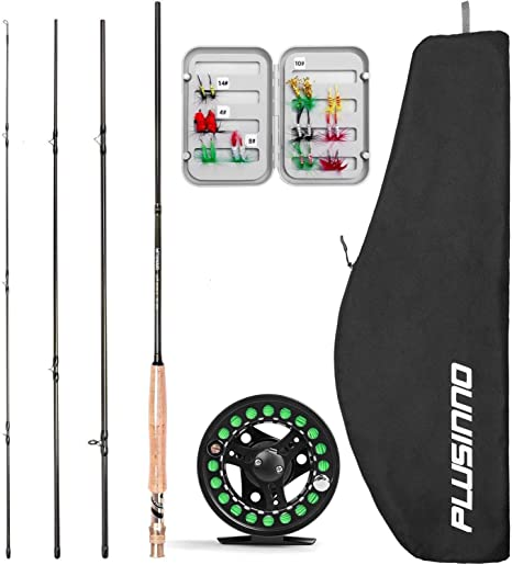 PLUSINNO Lightweight Ultra Portable Fly Fishing Rod Graphite Pole with Japanese 30 ton Toray Carbon Fiber Blanks and Chromed Stainless Steel Snake