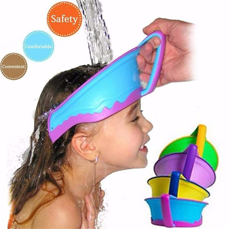 JuiciaTrendz Baby Hat Bath Visor Shower Cap Protect Shampoo Hair Wash Shield for Children Infant Splashguard Waterproof (Blue) mooonbiffy