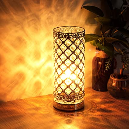 Amazon crystal table lamp touch control dimmable accent desk crystal table lamp touch control dimmable accent desk lamp bedside modern table light with sliver lamp aloadofball Gallery