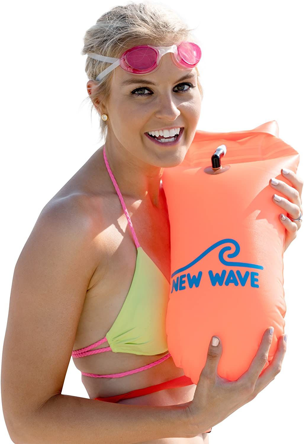 New Wave Swim Buoy - Swim Safety Float and Drybag for Open Water Swimmers Triathletes Kayakers Snorkelers, Open Water Swim Buoy Float for Safer Swim Training (PVC 15 Liter Orange)