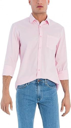 Camisa Hombre Salsa Bolsillo Rosa: Amazon.es: Ropa y accesorios