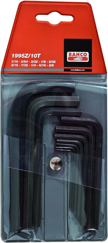 Bahco 1995Z//10T IR1995Z//10T Hexagon Offset Screwdriver Set Imperial Sizes Set of 10 Pieces Black