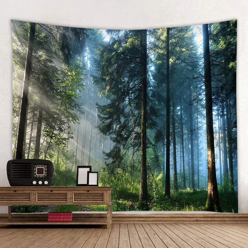 Forest Tapestry Home Decor Landscape Tapestry Living Room Bedroom Decoration Tapestry Magic Tapestry Curtain (Morning Forest, 60''L×51''W)