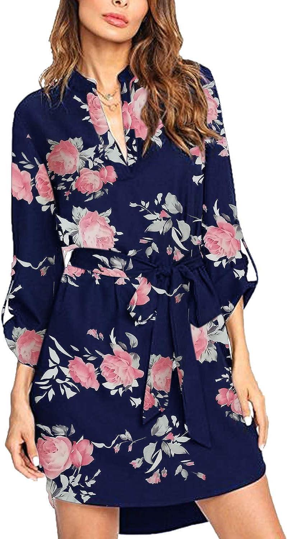 kenoce Blouse Dress for Women V Neck Solid Plain Loose Long Sleeve Shirt Dresses Casual Long Tunic Tops