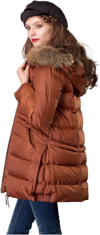 Artka Women's Down Jacket Packable Puffer Coat with Raccoon Fur Hood