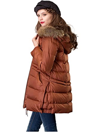 044bfca65573 Artka Women's Mid-Length Down Coat with Raccoon Fur Hood Long Winter Puffer  Jacket Coffee